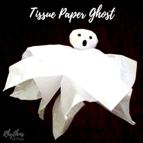 This DIY tissue paper ghost craft is a simple classic Halloween decoration for both kids and adults. Even toddlers and preschoolers will have fun making these with some help. You can even use recycled tissue paper to make this super easy craft idea! My daughter likes to use these for imaginative play as she flies them around the house, while I like to use them to decorate our trees, ceilings and windows for parties and Halloween night.