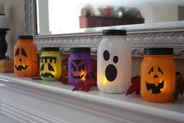Tissue paper pumpkin, ghost, ghoul, and Frankenstein Halloween lantern craft ideas and DIY Halloween decorations