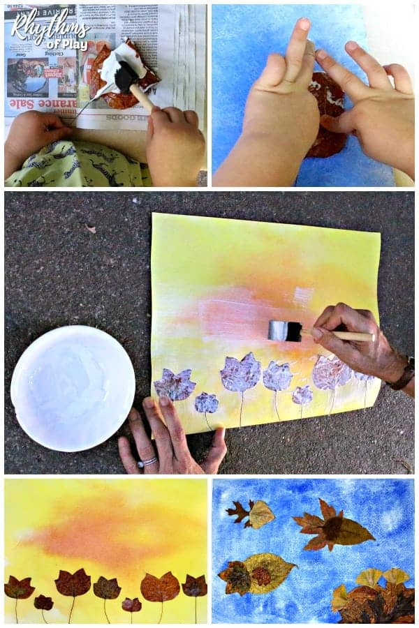 Creating art with fall leaves and watercolor paintings step by step photo collage tutorial