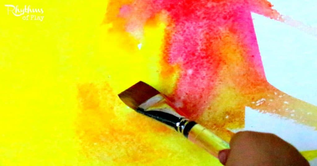 Two color wet-on-wet watercolor painting