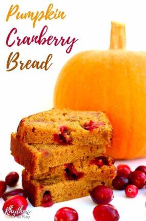 healthy homemade pumpkin cranberry bread recipe.