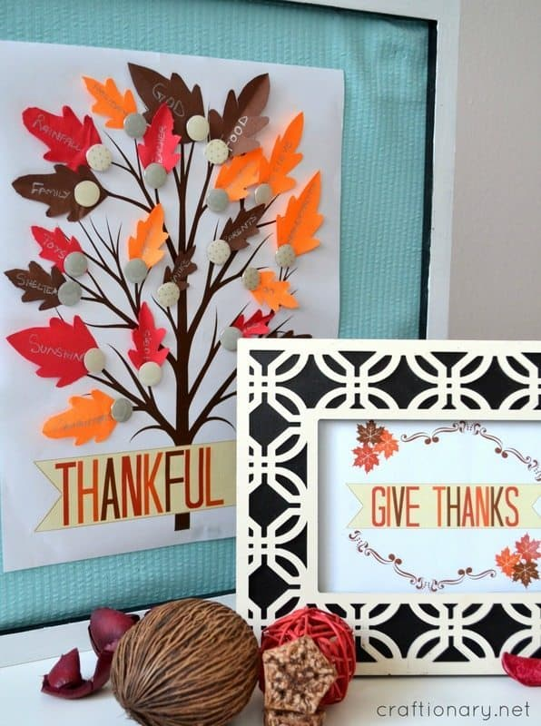 Thankful Tree in a frame with paper leaves and tree printable by craftionary.net