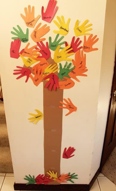 Thankful Tree with handprint leaves by ourgoodwinjourney.com