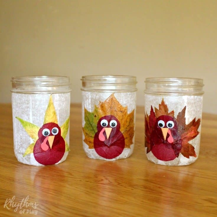 Turkey leaf lanterns thanksgiving craft rhythms of play for Leaf crafts for adults