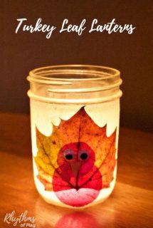 Turkey Leaf Lanterns Thanksgiving Craft