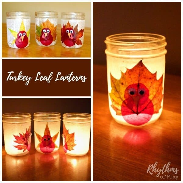 Thanksgiving turkey Mason jar leaf lanterns DIY