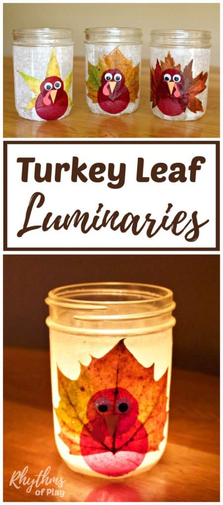 DIY turkey leaf lantern luminaries are made with real fall leaves, but you can use silk leaves too. The tutorial makes this autumn nature craft easy for both kids and adults. They make a great Thanksgiving decoration and centerpiece for any Thanksgiving holiday table!