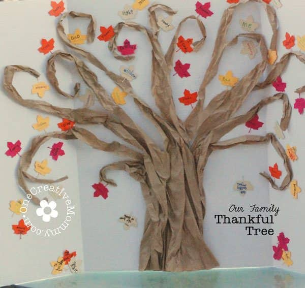 thankful tree made of brown paper and paper leaves by onecreativemommy.com