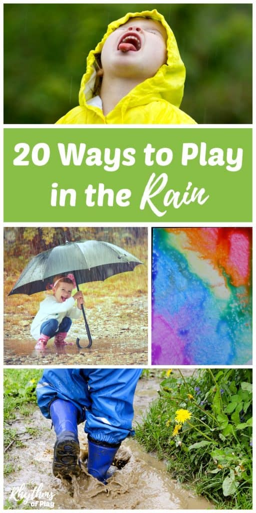 Rainy day activities don't have to be inside! There are many fun ways to play in the rain outside and lots of learning opportunities available outdoors on rainy days. You can make music, art, engage the senses, practice gross motor and fine motor skills, do STEM or STEAM activities, study nature, and so much more!