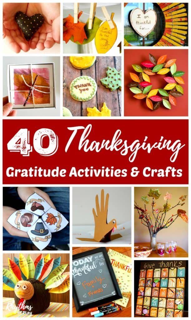 Picture collage of Thanksgiving Activities and Thanksgiving crafts for kids included in this fun roundup!