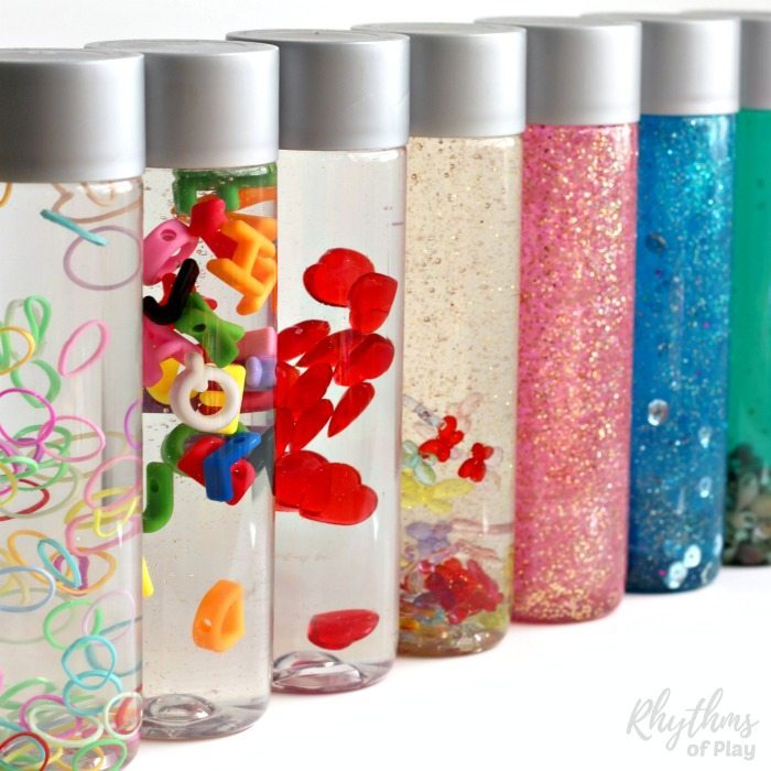 "Calm down sensory bottles are used for portable no mess safe sensory play for babies, toddlers, and preschoolers, to calm an anxious child, to help children learn to meditate, and as a ""time out"" timer for kids. This article includes links to resources available to help learn more about their uses and how to make DIY sensory bottles."
