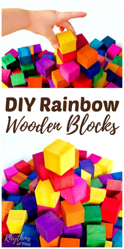 "Rainbow colored wooden blocks are an easy DIY kids toy. These ""Grimm"" style building blocks make a great gift idea for Christmas and birthdays. They will provide years of educational play based learning. Click through to find out how easy they are to make!"