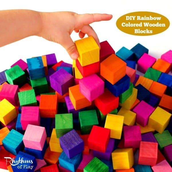 DIY Rainbow Colored Wooden Blocks sq