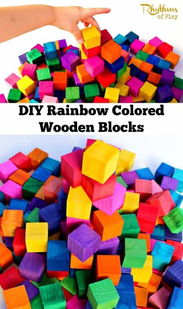 DIY Rainbow Colored Wooden Blocks