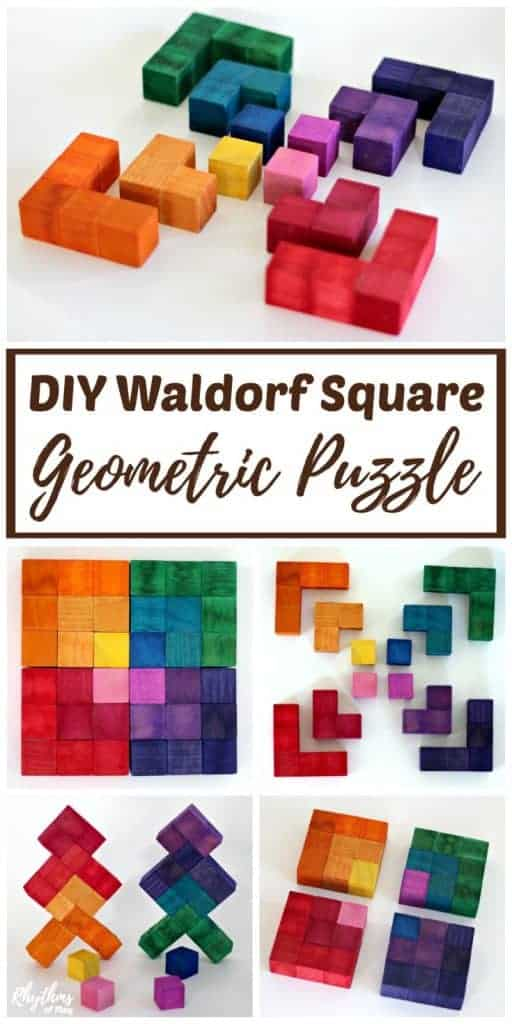 DIY Waldorf Square 3d wooden puzzle for kids