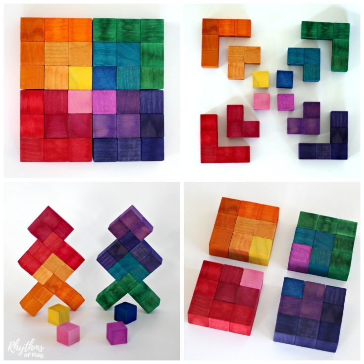 A DIY Waldorf Square Geometric Puzzle makes a great handmade gift idea for kids. Both children and adults can exercise their geometric and spatial thinking while tinkering with this puzzle's 3-dimensional pieces. Many variations of shapes, colors, and patterns are possible. The perfect STEAM toy to leave out on tables and desks to invite creative play.