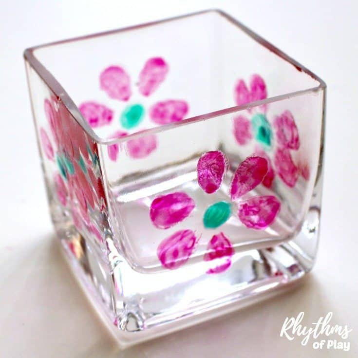 DIY flower painted votives are an easy kid-made gift idea that even toddlers can make. Hand painted candle holders make a great homemade gift idea for friends and family.