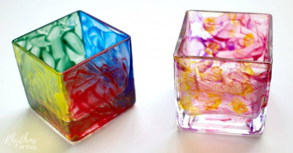 DIY hand painted votives are simple for both kids and adults to make. They are so easy my toddler made them! They make wonderful gifts for birthday's, Christmas, Mother's Day, Father's Day, or any other special occasion! Gift Ideas | DIY Project | Kids Craft | Kid Made Gifts