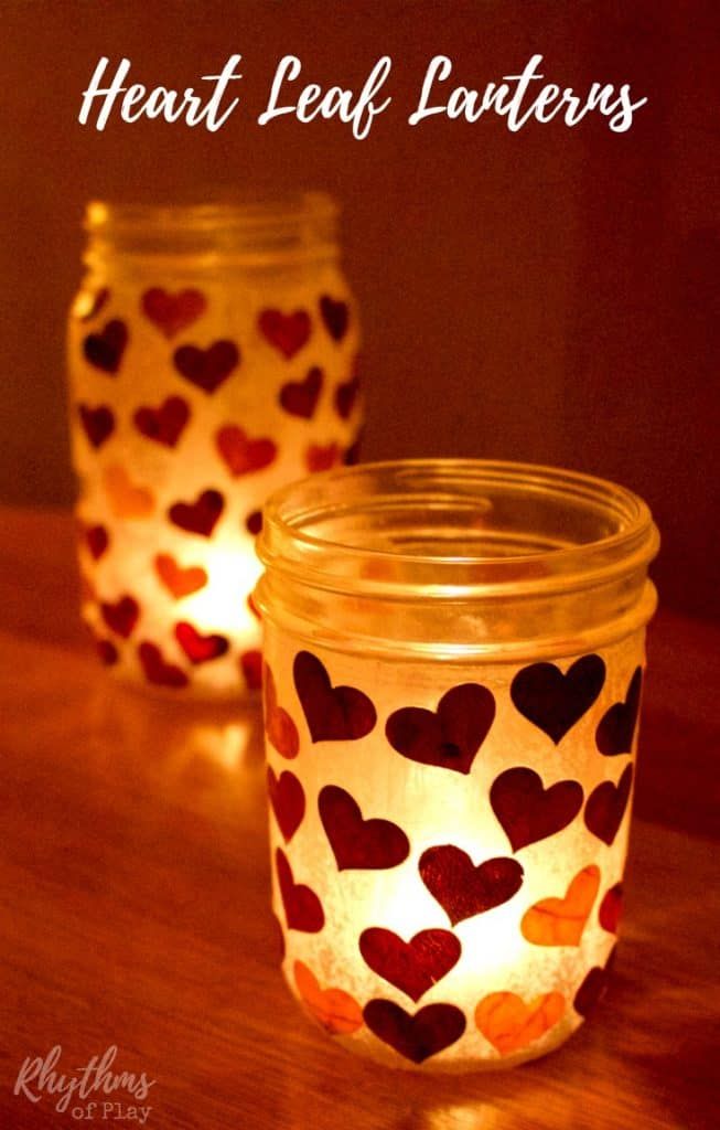 DIY Heart leaf lanterns make beautiful luminaries and an easy gift idea that even kids can make. You can use real fall leaves or tissue paper. They are wonderful centerpieces for both indoor and outdoor use, and would be perfect for an autumn wedding. They can also be filled with treats and a candle and given as gifts for any special occasion!
