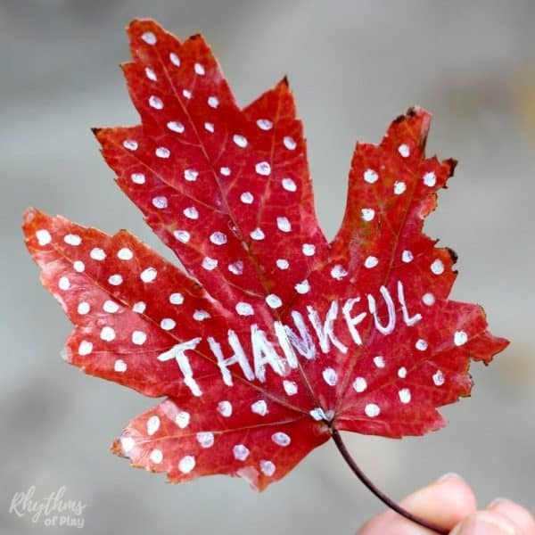 "Preserve fall leaf with the word ""thankful"" written on to decorate thankful tree for Thanksgiving."