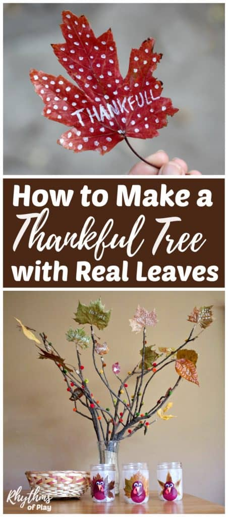 Make a DIY thankful tree with real fall leaves this year. Creating and decorating a thankful tree with autumn leaves is a gratitude craft and activity that both kids and adults will enjoy. Click through to learn how to make your own Thanksgiving tree nature craft! #Thanksgiving