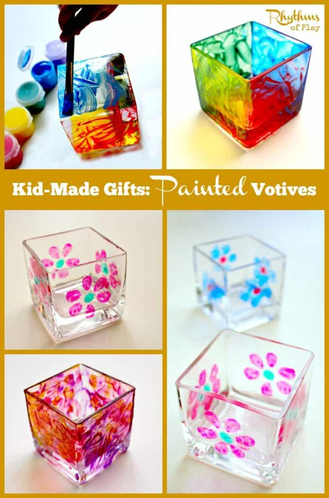 These kid made painted votives are so simple to make even a toddler can do it! They make wonderful gifts for birthday's, Mother's Day, Father's Day, Christmas, or any other special occasion! Gift Ideas | DIY Project | Kids Craft | Kid-Made Gifts