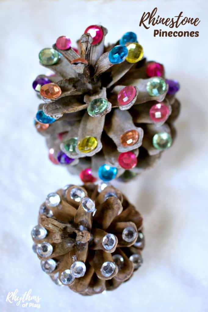 Rustic rhinestone pinecone crafts for kids and adults.