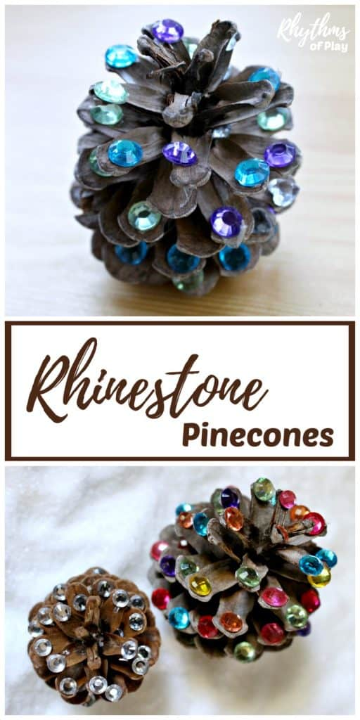 Rustic rhinestone pinecone crafts winter DIY home decor.