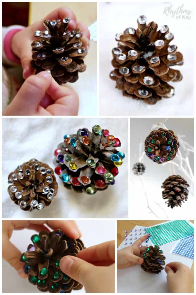 Rustic rhinestone pinecone crafts DIY holiday home decor