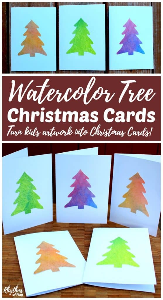 DIY handmade Watercolor tree Christmas cards are an easy way to make use of children's artwork. Create new watercolor paintings or use artwork you already have with the free printable template. Make some simple homemade cards to share with your friends and family this holiday season!