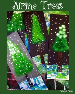 Alpine Trees Winter Art Project