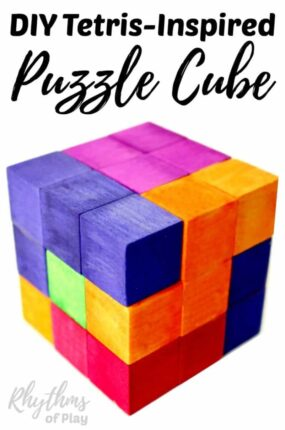 This DIY Tetris Puzzle Cube was inspired by the Nintendo video game of Tetris. Awesome homemade wooden puzzles like these fun cubes make a great gift for both kids and adults. Anyone can exercise their geometric and spatial thinking by playing and experimenting with this puzzle's pieces. A STEM activity for kids.