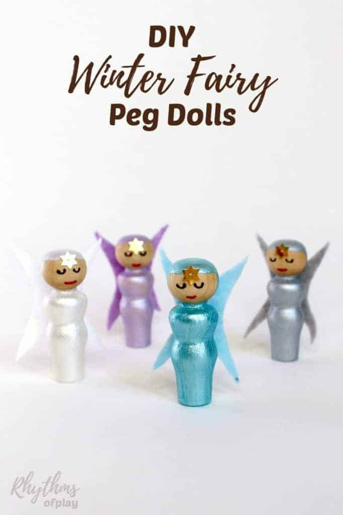 DIY winter fairy peg dolls are unique handmade wooden toys for kids. Children love to use them for pretend or imaginative play. My daughter loves playing and chatting with these little cuties.   They also make beautiful winter home decor. Winter fairy peg dolls look beautiful displayed on nature tables, shelves, and windowsills throughout the home.
