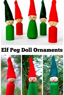 Elf Peg Doll Ornaments for Christmas