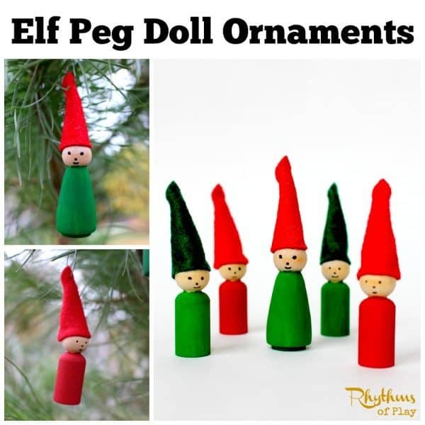 Elf Peg Doll Ornaments