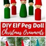 DIY Elf Peg Doll Ornaments for Christmas