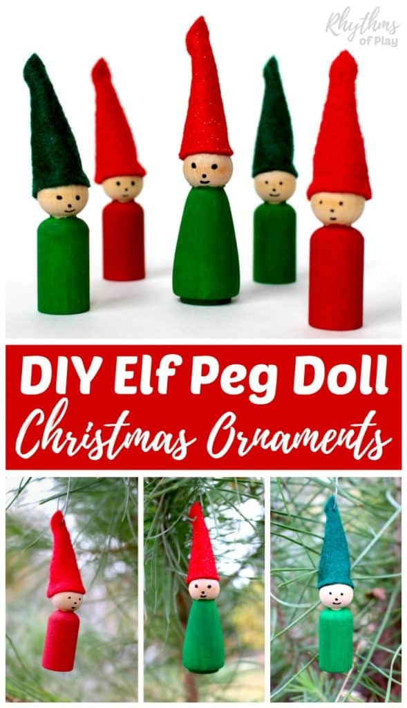 These cute homemade DIY Elf Peg Doll Christmas ornaments are easy for both adults and kids to make. Handmade ornaments like these rustic wooden elves made with festive felt caps are perfect for the Christmas tree. They make beautiful decorations and are a great keepsake gift idea!