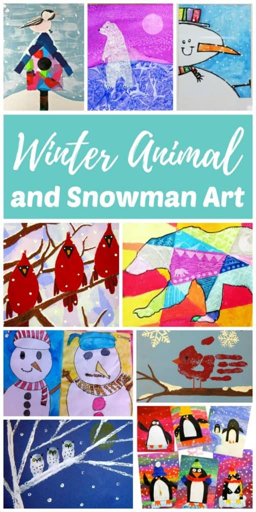 Winter animal and snowman art