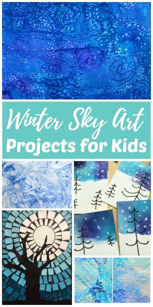 Winter sky art projects and painting ideas for children