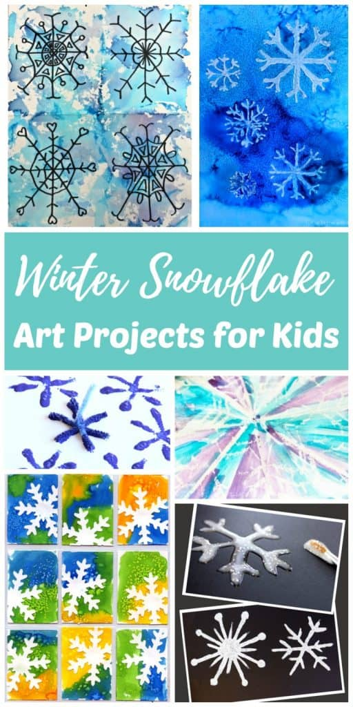 Winter snowflake art projects and painting ideas for children