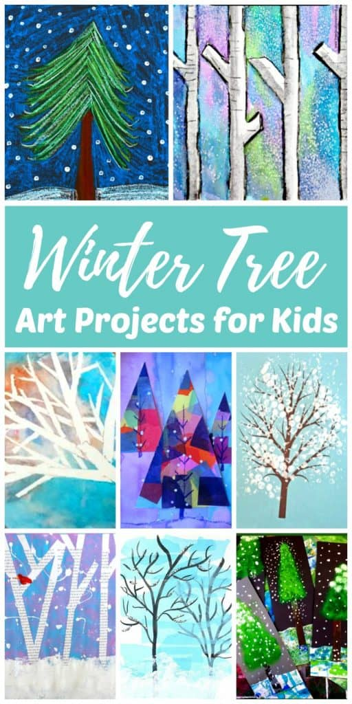 Winter tree art and other winter art projects for kids