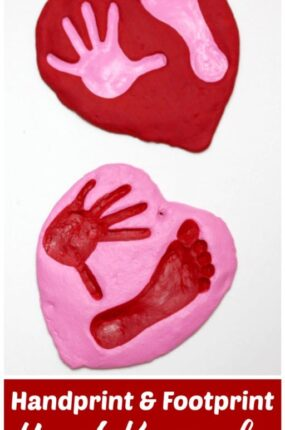 handprint and footprint heart craft made of salt dough