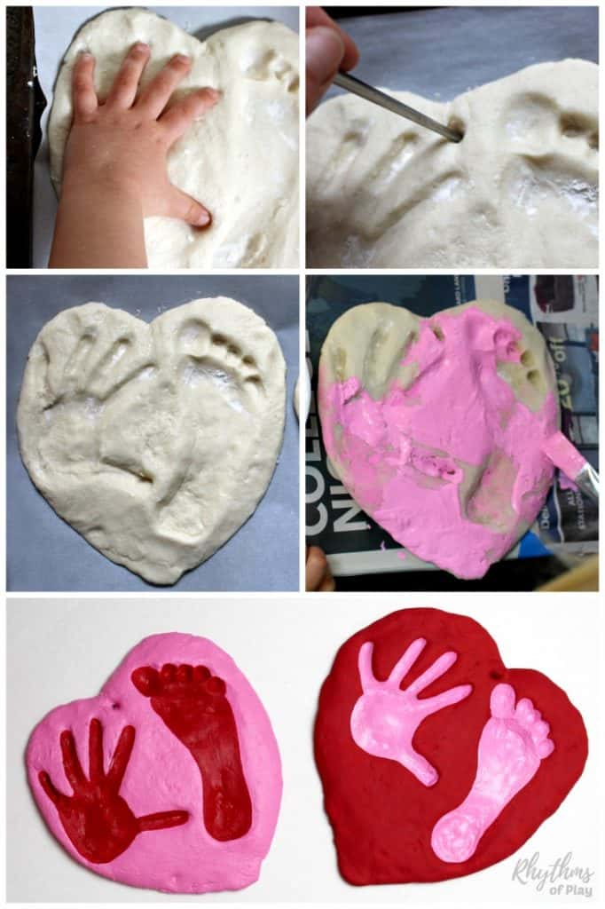 A salt dough handprint and footprint heart keepsake kids can make for parents and grandparents