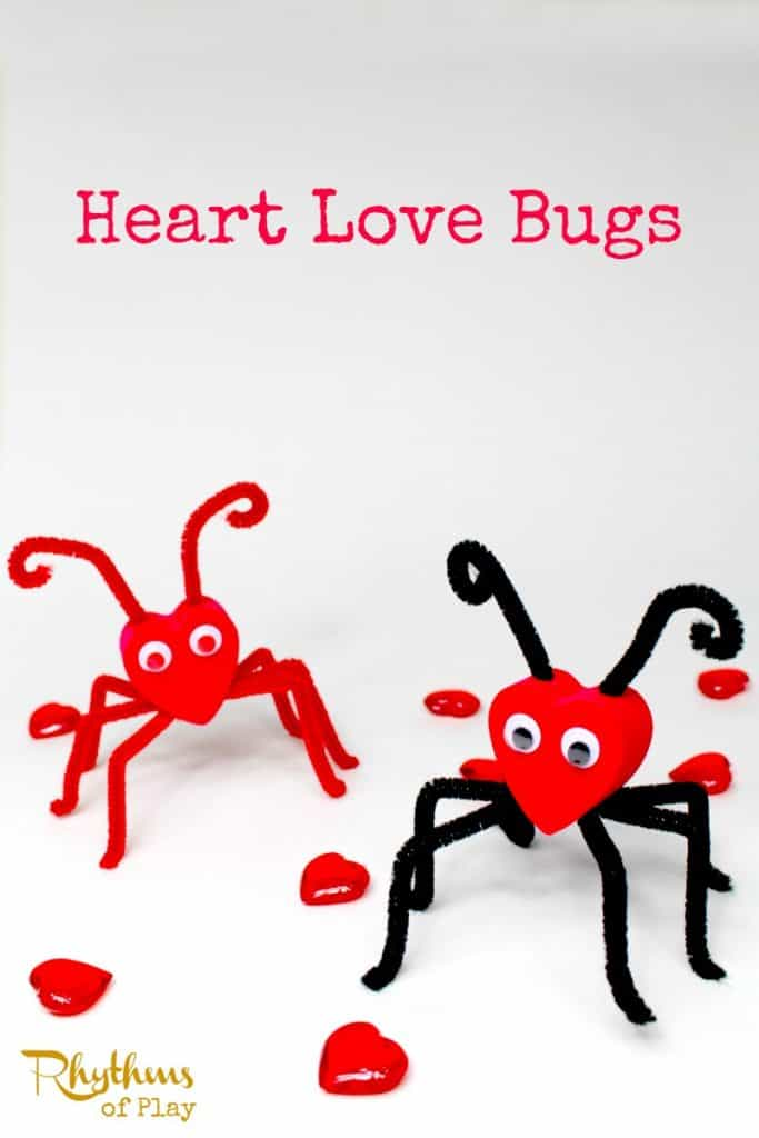 Heart love bugs are an easy fine motor Valentine's Day craft for kids.