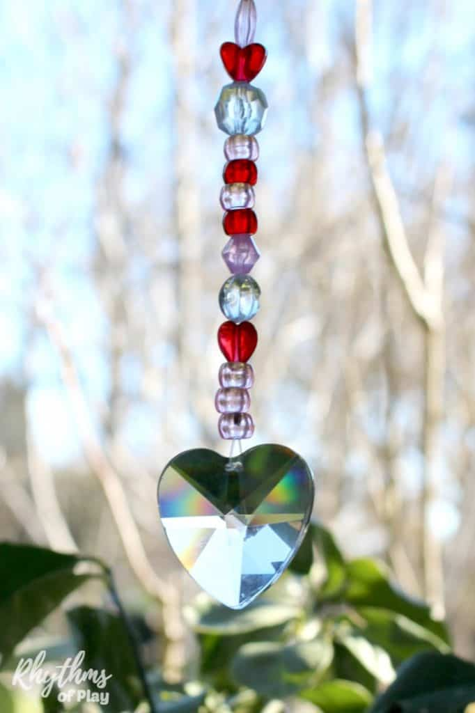 hanging heart suncatcher prism diy gift idea for Valentine's Day