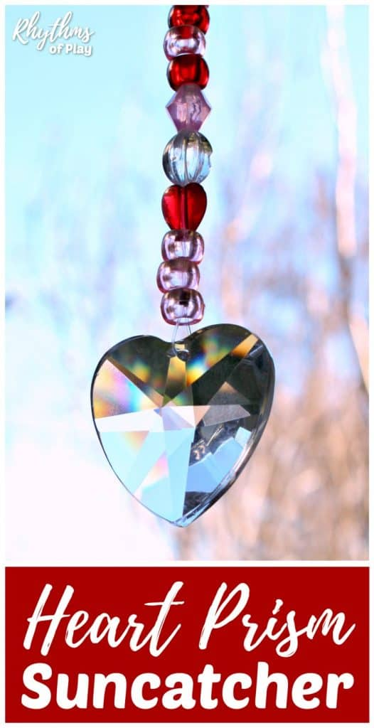 Heart prism suncatcher strung on fishing line with pony beads