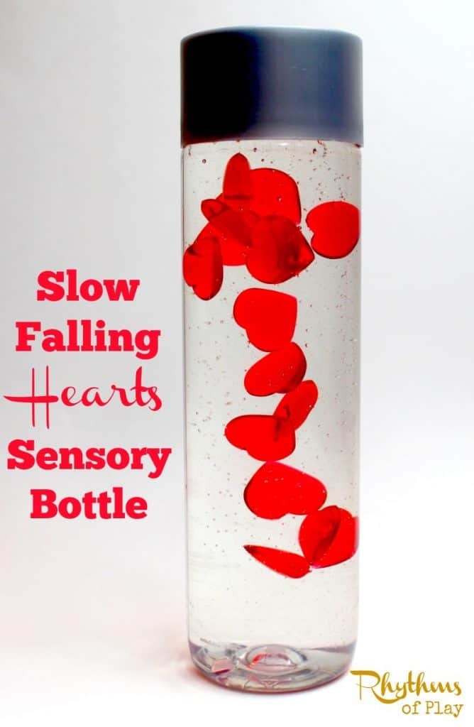 "Slow falling hearts sensory bottle is the perfect Valentine's Day calm down jar. Discovery bottles like this are commonly used for no mess sensory play, to help calm an overwhelmed child, as a ""time out"" timer, or as a meditation technique for children. They are just as effective for adults."
