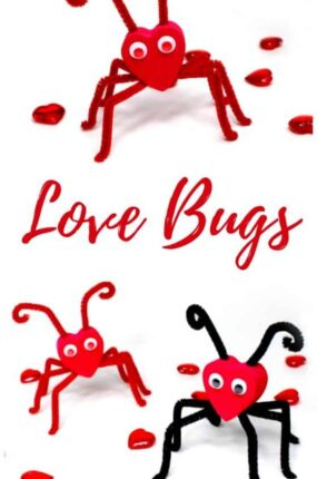 Love bugs! A black and red Valentine love bug craft and a red on red love bug.