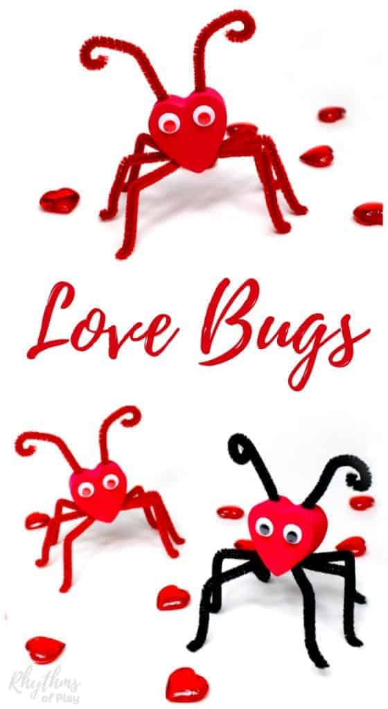 A black and red Valentine love bug craft and a red on red love bug for Valentine's day.