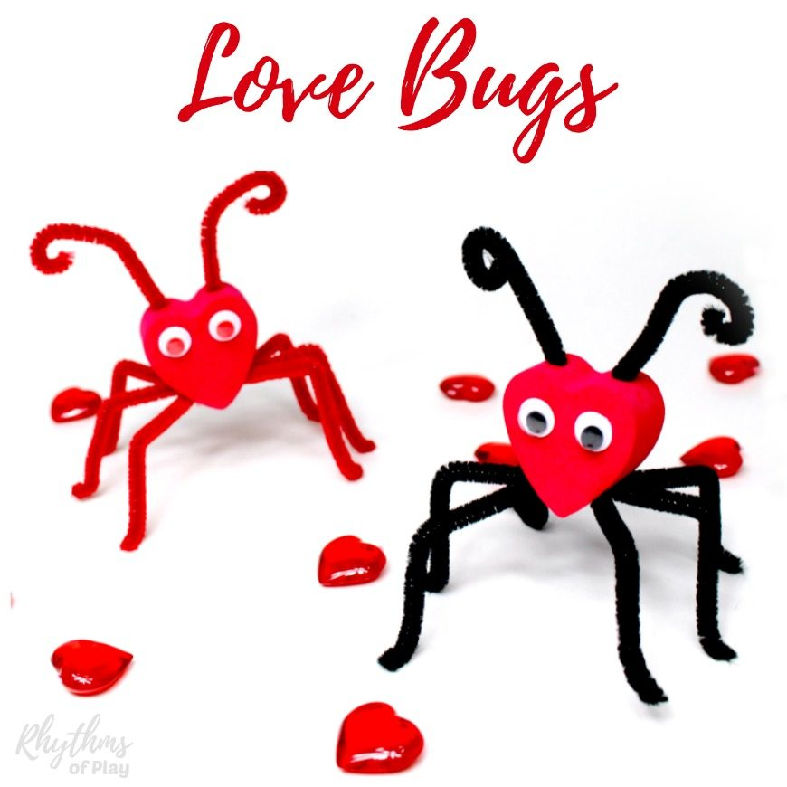 Love bugs! A black and red valentine love bug and a red on red love bug craft.
